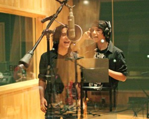 Sam and Luke in studio